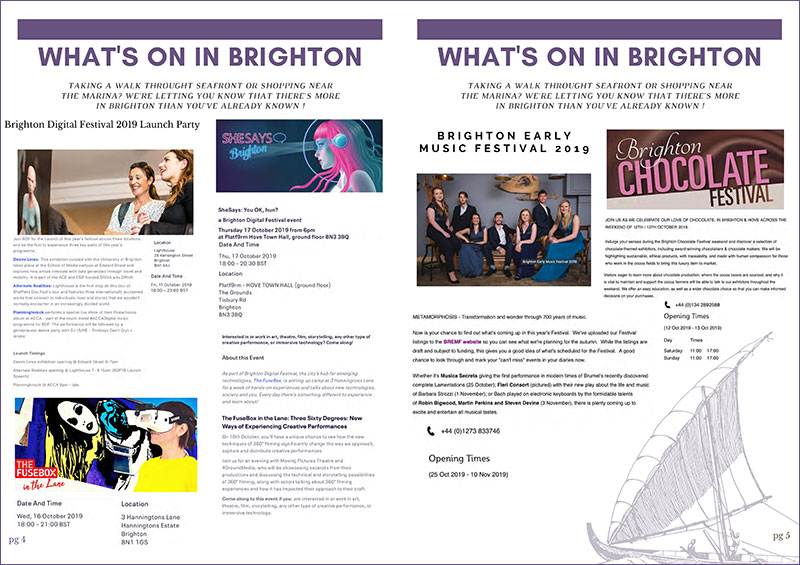 Spread from The Kings Brighton Bulletin.