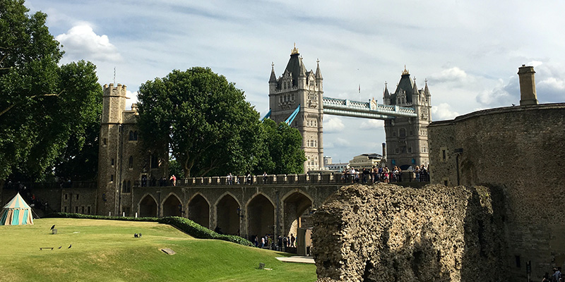 photo of the Tower of London and Tower Bridge in the background